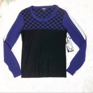 Worth Purple Black Houndstooth Wool Sweater XS